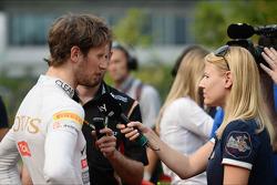 Romain Grosjean, Lotus F1 Team with the media