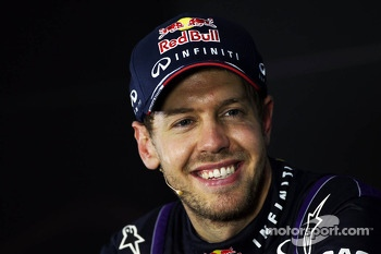 Race winner and World Champion Sebastian Vettel, Red Bull Racing in the FIA Press Conference