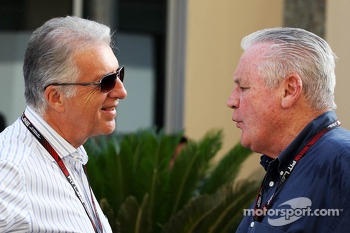 (L to R): Piero Ferrari, Ferrari Vice-President with Alan Jones