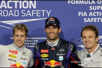 Sebastian Vettel, Red Bull Racing, Mark Webber, Red Bull Racing and Nico Rosberg, Mercedes GP