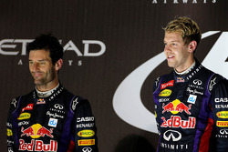 Second place Mark Webber, Red Bull Racing and race winner Sebastian Vettel, Red Bull Racing