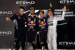 Race winner Sebastian Vettel, Red Bull Racing, second place Mark Webber, Red Bull Racing, third place Nico Rosberg, Mercedes AMG F1