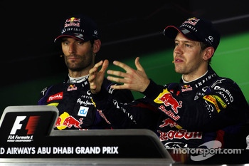 (L to R): Mark Webber, Red Bull Racing and race winner Sebastian Vettel, Red Bull Racing in the FIA Press Conference