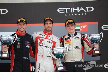 Race winner Tio Ellinas, second place Dean Stoneman, third place Conor Daly