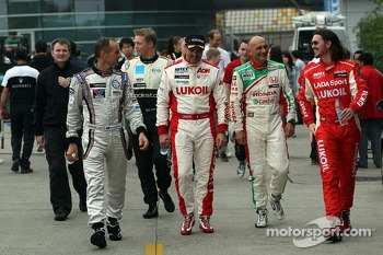 (L-R) Rickard Rydell, Chevrolet Cruze 1.6T, RML, Gabriele Tarquini, Honda Civic, Honda Racing Team J.A.S.  and  James Thompson, Lada Granta, LADA Sport Lukoil