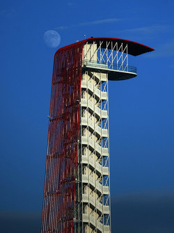 The COTA tower with the moon