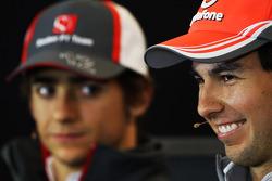 (L to R): Esteban Gutierrez, Sauber and Sergio Perez, McLaren in the FIA Press Conference