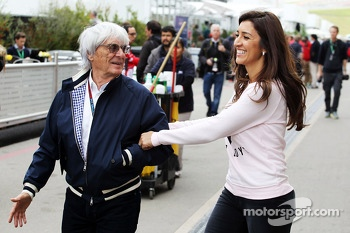 Bernie Ecclestone, CEO Formula One Group, with his wife Fabiana Flosi (BRA)