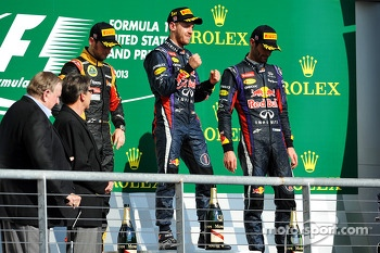 Podium: race winner Sebastian Vettel, Red Bull Racing, second place Romain Grosjean, Lotus F1 Team, third place Mark Webber, Red Bull Racing