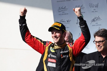 Romain Grosjean, Lotus F1 Team celebrates his second position on the podium