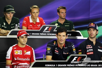 The FIA Press Conference: Charles Pic, Caterham; Max Chilton, Marussia F1 Team; Giedo van der Garde, Caterham F1 Team; Felipe Massa, Ferrari; Mark Webber, Red Bull Racing; Jean-Eric Vergne, Scuderia Toro Rosso