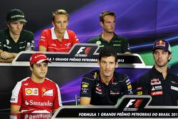 The FIA Press Conference: Charles Pic, Caterham; Max Chilton, Marussia F1 Team; Giedo van der Garde, Caterham F1 Team; Felipe Massa, Ferrari; Mark Webber, Red Bull Racing; Jean-Eric Vergne, Scuderia Toro Rosso