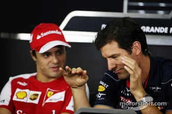 (L to R): Felipe Massa, Ferrari with Mark Webber, Red Bull Racing in the FIA Press Conference
