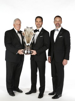 2013 champion Jimmie Johnson with crew chief Chad Knaus and team owner Rick Hendrick