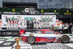 Class winners podium: GTD class winners Nelson Canache, Spencer Pumpelly, Tim Pappas, Markus Winkelhock, GTLM winners Nick Tandy, Richard Lietz, Patrick Pilet, P class and overall winners Joao Barbosa, Christian Fittipaldi, Sébastien Bourdais, PC winners
