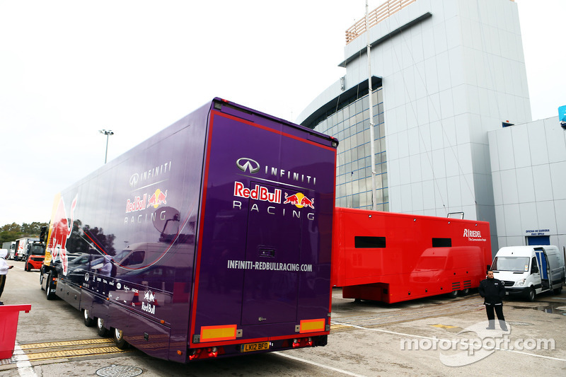 Red Bull Racing trucks leave the paddock and the circuit