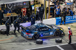 Pit stop for #23 Team Seattle / Alex Job Racing Porsche 911 GT America: Ian James, Mario Farnbacher, Alex Riberas, Marco Holzer