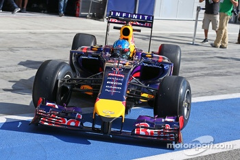 Sebastian Vettel, Red Bull Racing RB10 leaves the pits