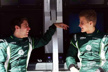 (L to R): Robin Frijns, Caterham Test and Reserve Driver with Marcus Ericsson, Caterham