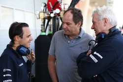 (L to R): Felipe Massa, Williams with Gerhard Berger, and Pat Symonds, Williams Chief Technical Officer