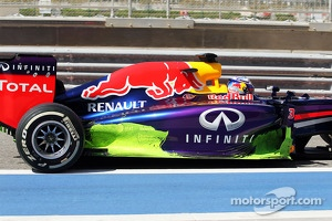 Sebastian Vettel, Red Bull Racing RB10 running flow-vis paint on the sidepod