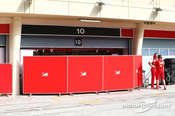Screens up outside the Ferrari garage