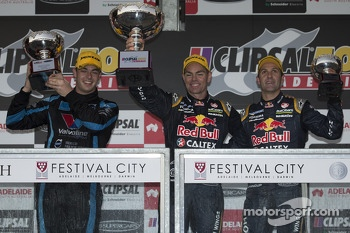 Race 2 podium: race winner Craig Lowndes, second place Scott McLaughlin, third place Jamie Whincup