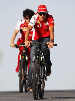 Fernando Alonso, Ferrari rides on his bicycle