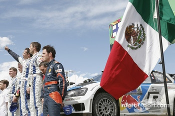 Podium: winners Sébastien Ogier and Julien Ingrassia, second place Jari-Matti Latvala and Miikka Anttila, third place Thierry Neuville and Nicolas Gilsoul