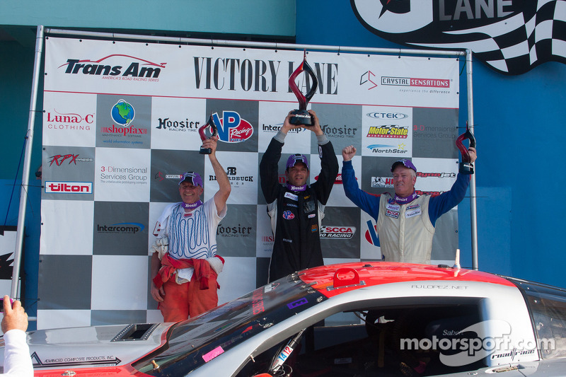 RJ Lopez, Simon Gregg and Cliff Ebben celebrate on the podium