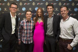 Garth Tander, Tim Slade, Nick Percat and James Courtney with Formula One Rolex Australian Grand Prix Ambassador Georgia Geminder
