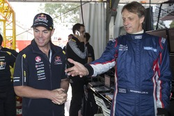 Craig Lowndes with skateboard legend Tony Hawk