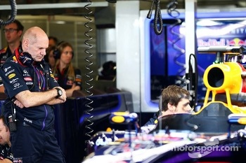 Adrian Newey, Red Bull Racing Chief Technical Officer looks at the Red Bull Racing RB10