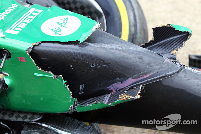 The damaged Caterham CT05 of Kamui Kobayashi, Caterham