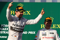 1st place Nico Rosberg, Mercedes AMG F1 W05 and Kevin Magnussen, McLaren