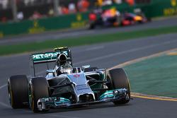 Nico Rosberg, Mercedes AMG F1 W05 leads Daniel Ricciardo, Red Bull Racing RB10  16