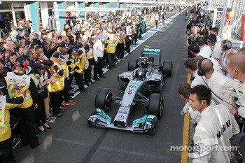 Race winner Nico Rosberg, Mercedes AMG F1 W05 enters parc ferme