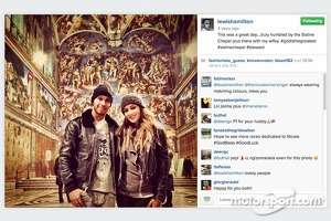 "Lewis Hamilton with ""wifey"" Nicole Scherzinger during a visit at the Sistine Chapel"