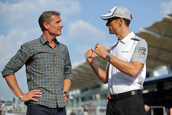 (L to R): David Coulthard, Red Bull Racing and Scuderia Toro Advisor / BBC Television Commentator with Jenson Button, McLaren