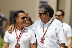 (L to R): Jean Alesi, with Pasquale Lattuneddu, of the FOM