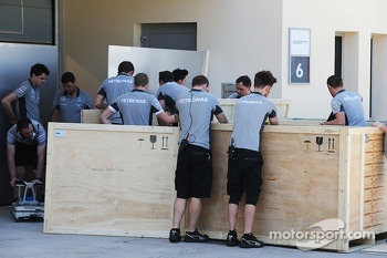 Mercedes AMG F1 with freight in the paddock