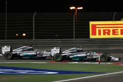Nico Rosberg, Mercedes AMG F1 W05 and team mate Lewis Hamilton, Mercedes AMG F1 W05 battle for position