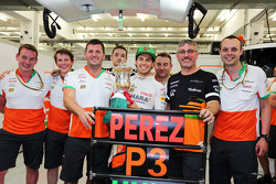 Sergio Perez, Sahara Force India F1 celebrates his third position the team