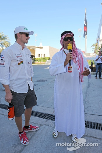 Nico Hulkenberg, Sahara Force India F1 with Kai Ebel, RTL TV Presenter
