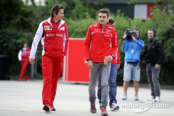(L to R): Massimo Rivola, Ferrari Sporting Director with Jules Bianchi, Marussia F1 Team