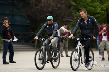 Lewis Hamilton, Mercedes AMG F1 on his bicycle.