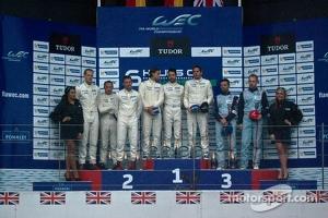 LM GTE podium: winners Marco Holzer, Frederic Makowiecki, Richard Lietz, second place Patrick Pilet, Jörg Bergmeister, Nick Tandy, third place Darren Turner, Stefan Mücke