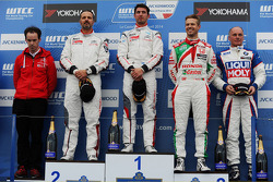 Race winner Jose Maria Lopez, Citroën C-Elysee WTCC, Citroën Total WTCC and second place Yvan Muller, Citroën C-Elysee WTCC, Citroën Total WTCC and third place Tiago Monteiro, Honda Civic WTCC, Castrol Honda WTCC Team with 1st position Yokohama Trophy Fra