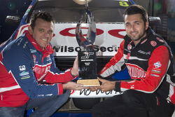 Jason Bright and Fabian Coulthard with the Jason Richards Memorial Trophy