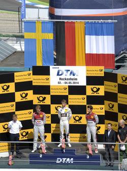 Podium, Mattias Ekstrom, Audi Sport Team Abt Sportsline, Audi RS 5 DTM, Marco Wittmann, BMW Team RMG, BMW M4 DTM, Adrien Tambay, Audi Sport Team Abt, Audi RS 5 DTM,